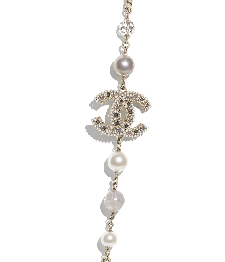 image 3 - Long Necklace - Metal, Glass Pearls, Glass & Strass - Gold, Pearly White, Gray & Crystal