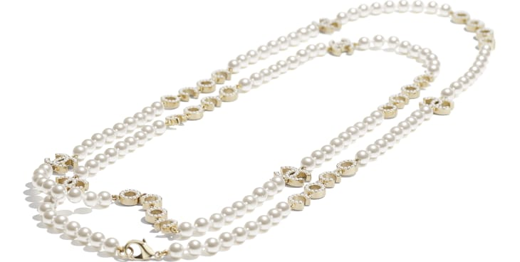 image 2 - Long Necklace - Metal & Glass Pearls - Gold & Pearly White