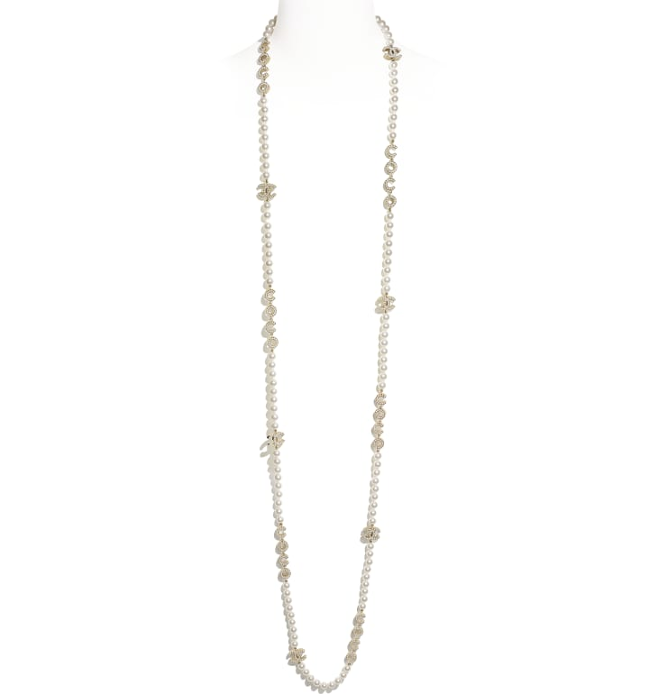 image 1 - Long Necklace - Metal & Glass Pearls - Gold & Pearly White