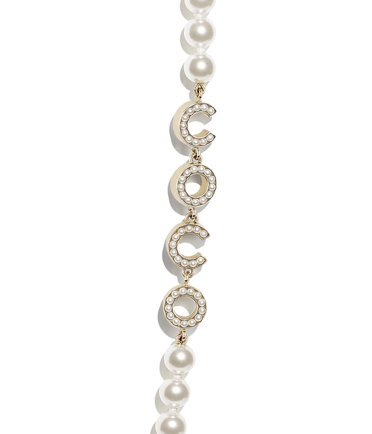 image 3 - Long Necklace - Metal & Glass Pearls - Gold & Pearly White