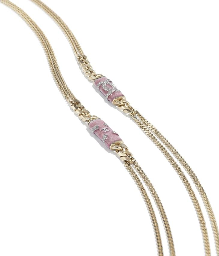 image 2 - ネックレス - メタル & ストラス - ゴールド、ピンク & クリスタル