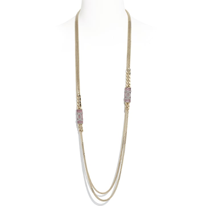 image 1 - Long Necklace - Metal & Strass - Gold, Pink & Crystal