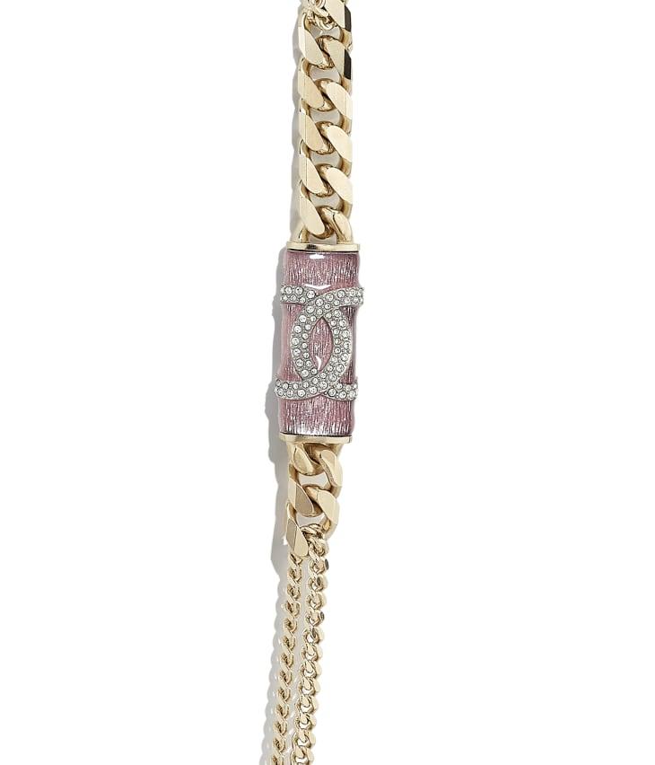 image 3 - ネックレス - メタル & ストラス - ゴールド、ピンク & クリスタル