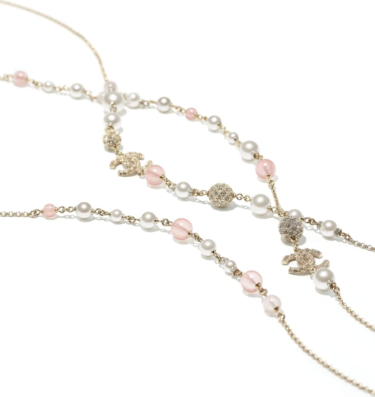 image 2 - Long Necklace - Metal, Glass Pearls & Diamantés - Gold, Pink & Pearly White