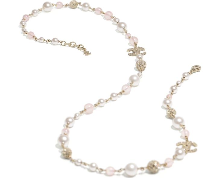 image 2 - Long Necklace - Metal, Glass Pearls & Strass - Gold, Pink & Pearly White