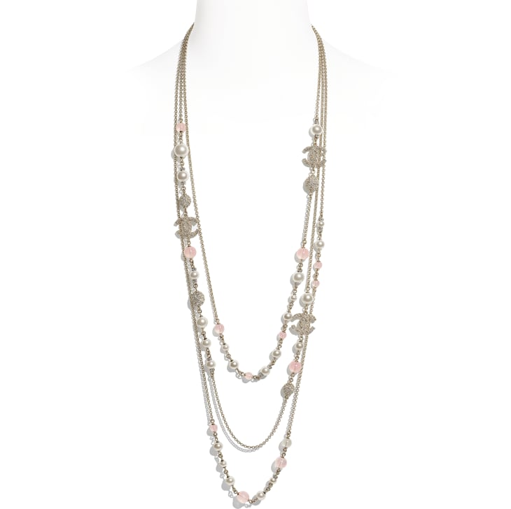 image 1 - Long Necklace - Metal, Glass Pearls & Diamantés - Gold, Pink & Pearly White