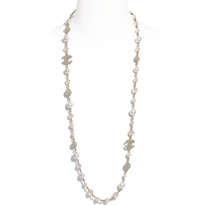 image 1 - Long Necklace - Metal, Glass Pearls & Strass - Gold, Pink & Pearly White