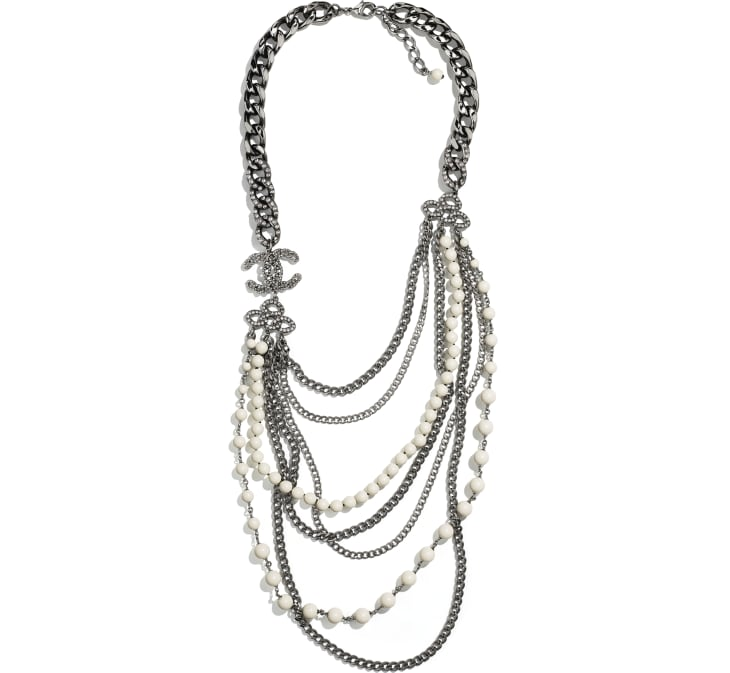 image 1 - Long Necklace - Metal, Strass & Glass Pearls - Ruthenium, Gray & White