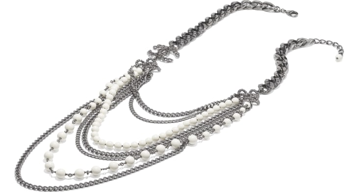 image 2 - Long Necklace - Metal, Strass & Glass Pearls - Ruthenium, Gray & White
