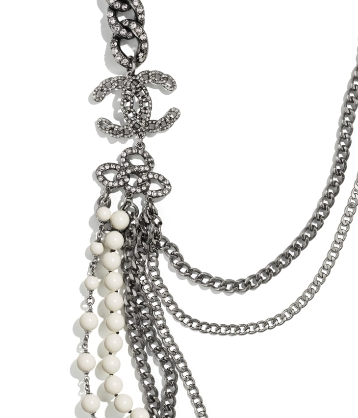 image 3 - Long Necklace - Metal, Strass & Glass Pearls - Ruthenium, Gray & White