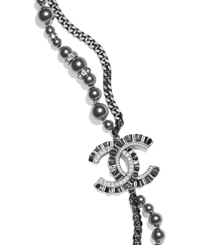 image 3 - Long Necklace - Metal, Strass & Glass Pearls - Ruthenium, Silver, Crystal & Gray