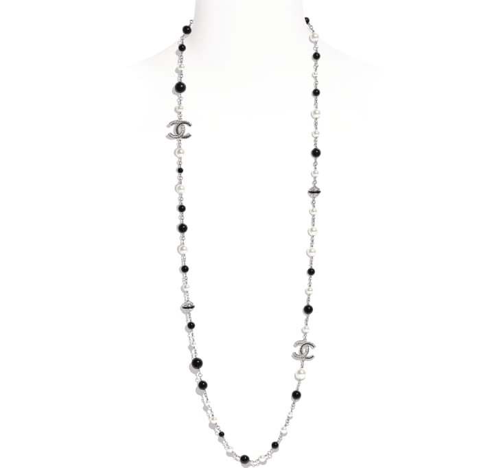 image 1 - Long Necklace - Metal, Strass & Glass Pearls - Silver, Black, Crystal & Pearly White