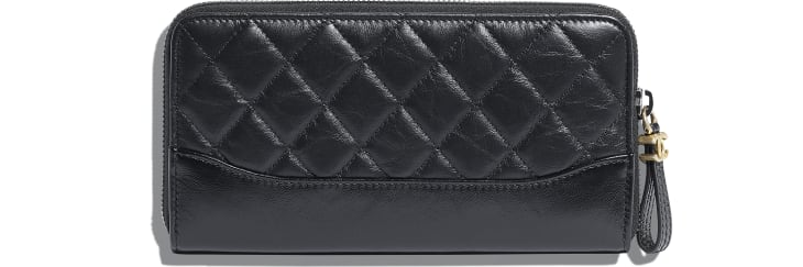 image 2 - Long Zipped Wallet - Aged Calfskin, Smooth Calfskin, Gold-Tone, Silver-Tone & Ruthenium-Finish Metal - Black