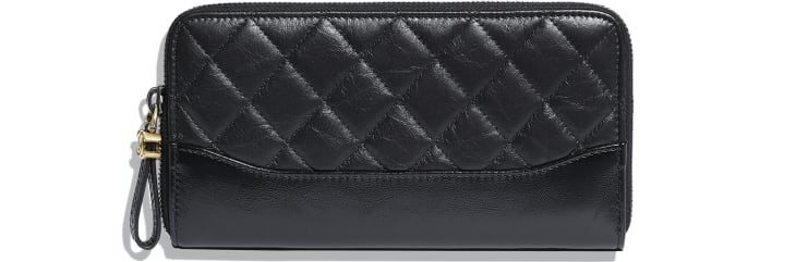 image 1 - Long Zipped Wallet - Aged Calfskin, Smooth Calfskin, Gold-Tone, Silver-Tone & Ruthenium-Finish Metal - Black