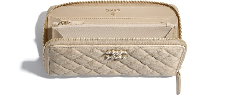 image 2 - Long Zipped Wallet - Grained Calfskin & Gold-Tone Metal - Light Beige