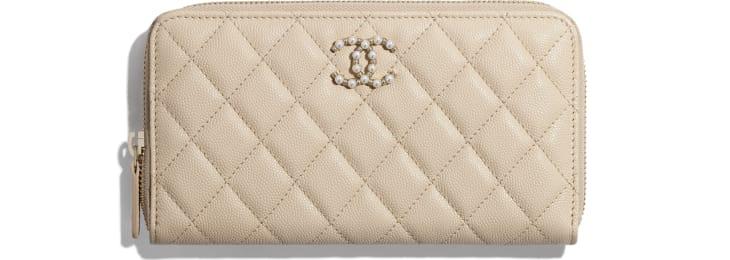 image 1 - Long Zipped Wallet - Grained Calfskin & Gold-Tone Metal - Light Beige