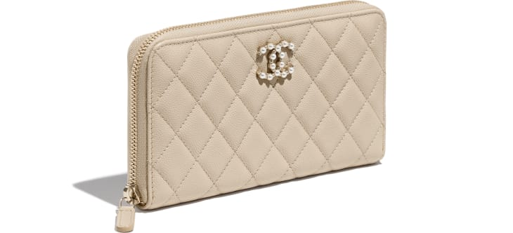 image 4 - Long Zipped Wallet - Grained Calfskin & Gold-Tone Metal - Light Beige
