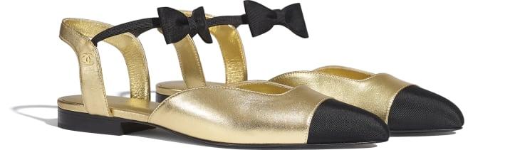 image 2 - Mary Janes - Laminated Lambskin & Grosgrain - Gold & Black