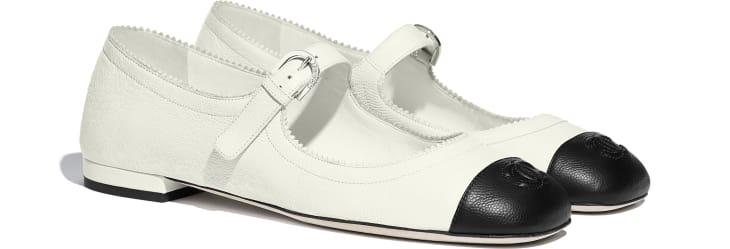 image 2 - Mary Janes - Calfskin - White & Black
