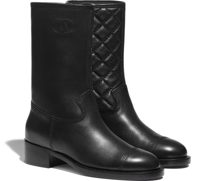 image 2 - Mid-Calf Boots - Calfskin - Black