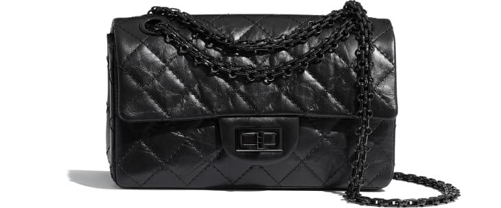 image 1 - Mini sac 2.55 - Veau vieilli & métal noir - Noir