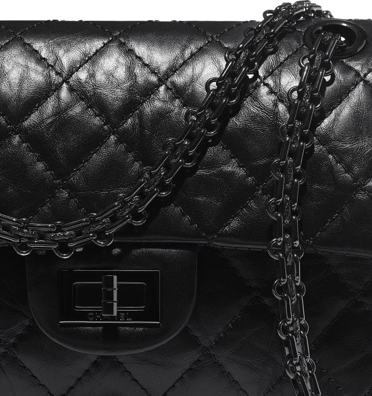 image 4 - Mini sac 2.55 - Veau vieilli & métal noir - Noir