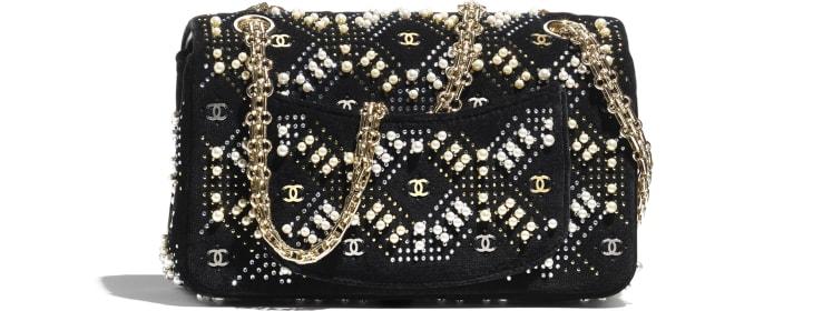 image 2 - Mini 2.55 Handbag - Velvet, Glass Pearls, Crystal Pearls & Gold-Tone Metal - Black