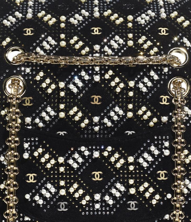 image 4 - Mini 2.55 Handbag - Velvet, Glass Pearls, Crystal Pearls & Gold-Tone Metal - Black