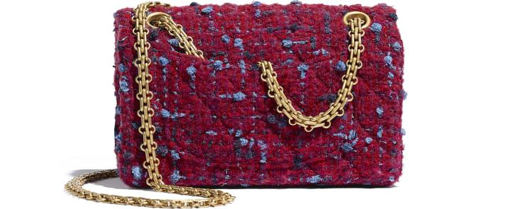 image 2 - Mini 2.55 Handbag - Tweed & Gold-Tone Metal - Burgundy, Blue & Gray