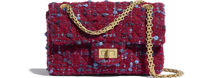 image 1 - Mini 2.55 Handbag - Tweed & Gold-Tone Metal - Burgundy, Blue & Gray