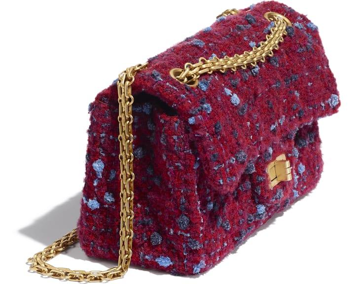 image 4 - Mini 2.55 Handbag - Tweed & Gold-Tone Metal - Burgundy, Blue & Gray