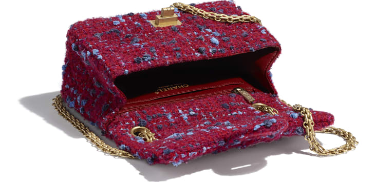 image 3 - Mini 2.55 Handbag - Tweed & Gold-Tone Metal - Burgundy, Blue & Gray