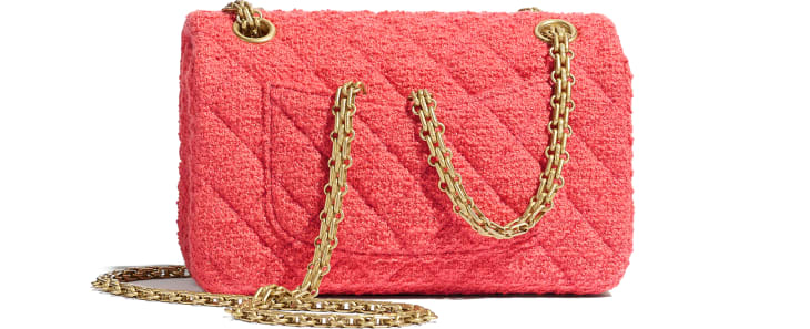 image 2 - Mini 2.55 Handbag - Wool Tweed & Gold-Tone Metal - Coral
