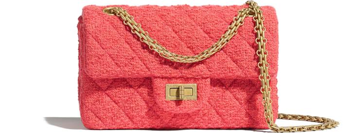 image 1 - Mini sac 2.55 - Tweed de laine & métal doré - Corail