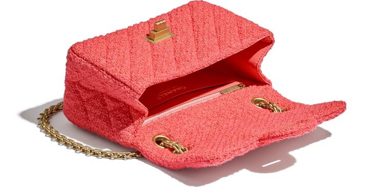 image 3 - Mini sac 2.55 - Tweed de laine & métal doré - Corail
