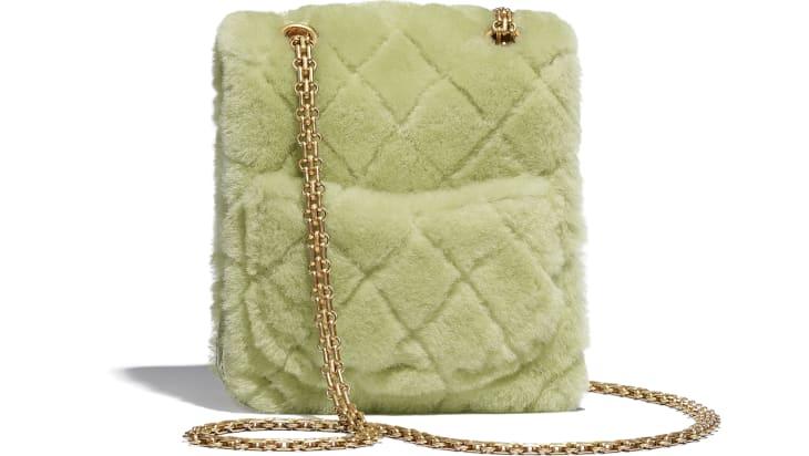 image 2 - Mini 2.55 Handbag - Shearling Lambskin, Aged Calfskin & Gold-Tone Metal - Green