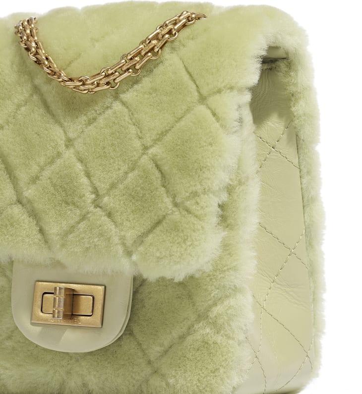 image 4 - Mini 2.55 Handbag - Shearling Lambskin, Aged Calfskin & Gold-Tone Metal - Green