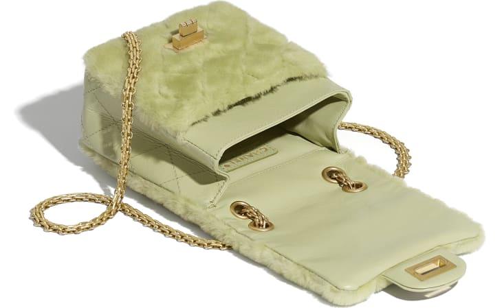 image 3 - Bolsa Mini 2.55 - Couro de Cordeiro, Couro de Novilho Envelhecido & Metal Dourado - Verde