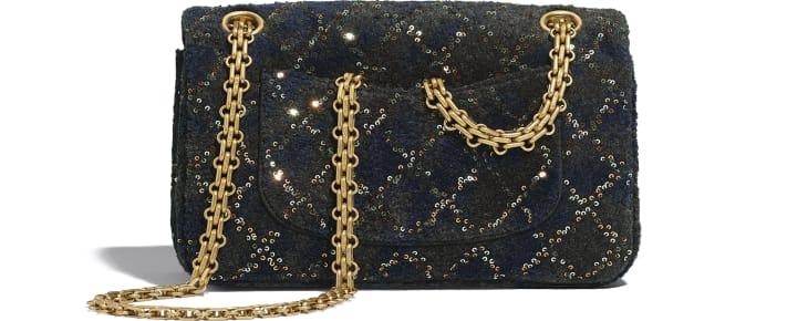 image 2 - Mini 2.55 Handbag - Wool, Mixed Fibers, Sequins & Gold-Tone Metal - Navy Blue