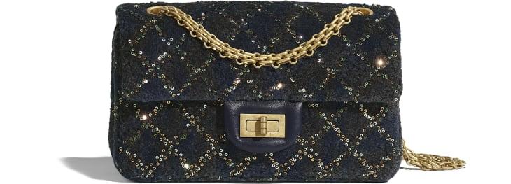 image 1 - Mini 2.55 Handbag - Wool, Mixed Fibers, Sequins & Gold-Tone Metal - Navy Blue