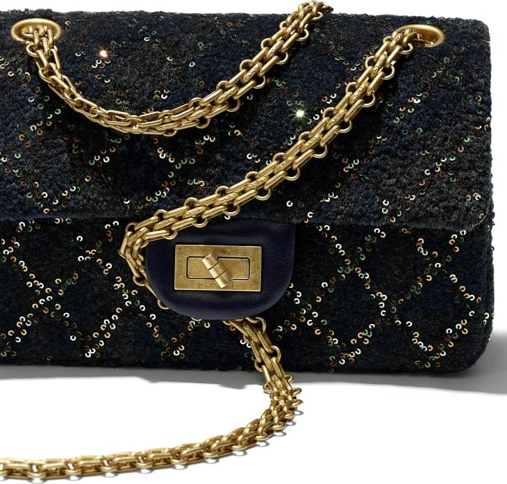 image 4 - Mini 2.55 Handbag - Wool, Mixed Fibers, Sequins & Gold-Tone Metal - Navy Blue