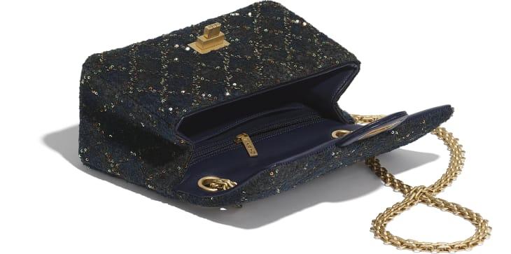 image 3 - Mini 2.55 Handbag - Wool, Mixed Fibers, Sequins & Gold-Tone Metal - Navy Blue