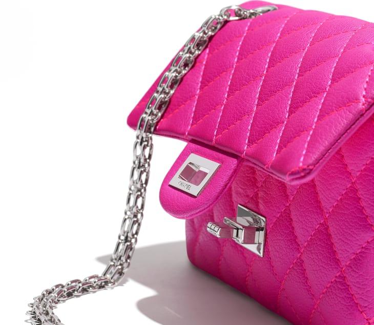 image 4 - Mini sac 2.55 - Chèvre & métal argenté - Rose