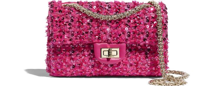 image 1 - Mini 2.55 Handbag - Sequins & Gold-Tone Metal - Pink