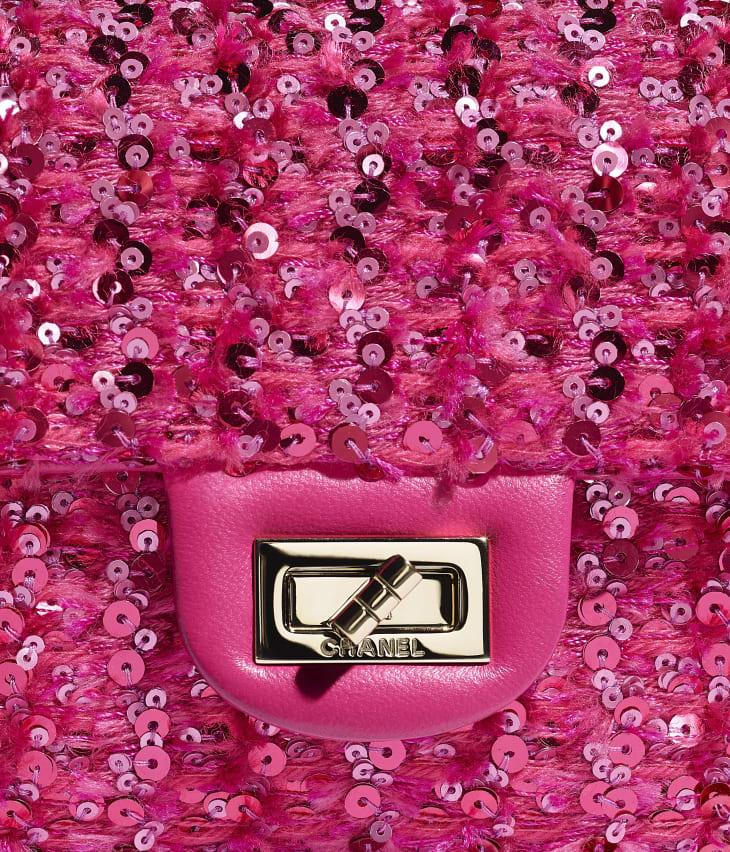 image 4 - Mini 2.55 Handbag - Sequins & Gold-Tone Metal - Pink