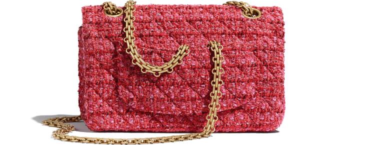 image 2 - Bolsa Mini 2.55 - Tweed & Metal Dourado - Vermelho, Bege & Preto