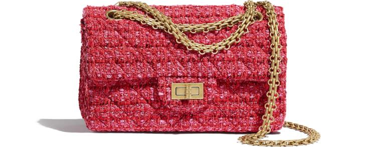 image 1 - Bolsa Mini 2.55 - Tweed & Metal Dourado - Vermelho, Bege & Preto