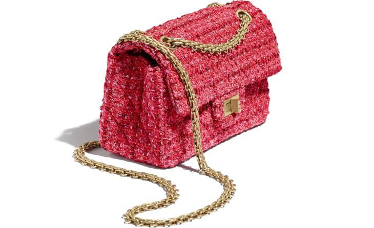 image 4 - Bolsa Mini 2.55 - Tweed & Metal Dourado - Vermelho, Bege & Preto