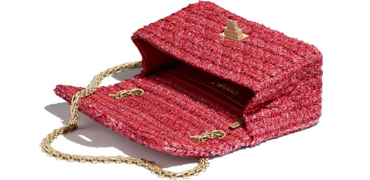 image 3 - Bolsa Mini 2.55 - Tweed & Metal Dourado - Vermelho, Bege & Preto