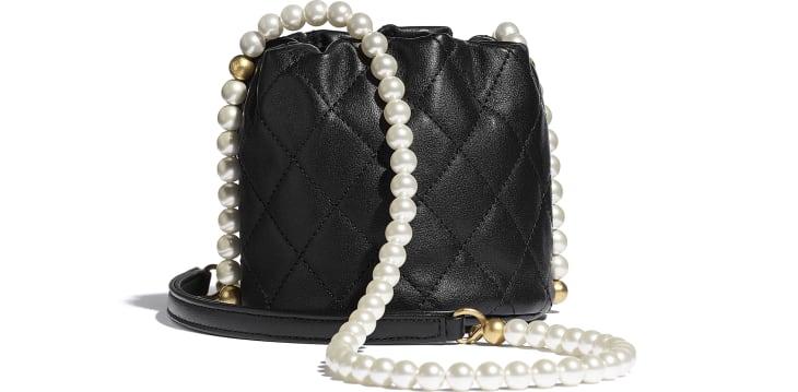 image 2 - Mini Drawstring Bag - Calfskin, Imitation Pearls & Gold-Tone Metal - Black